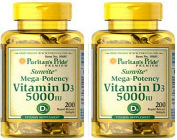 Vitamin D3 D 5000IU 12X200=2400 Softgel Mega-Potency Max Strength USA 2022 Whole 10