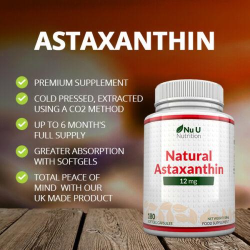 Astaxanthin 12mg - 4 x 180 Softgels (6 Month Supply) High Strength astaxanthin 1