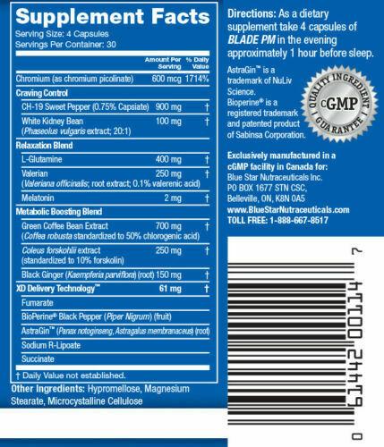 Blue Star Nutraceuticals BLADE PM Nighttime Fat Burner, 120 Capsules - 12/2022 1