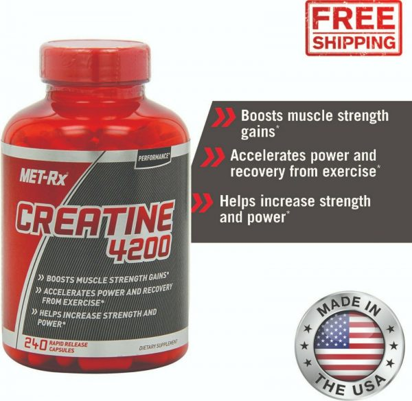 Creatine 4200 Supplement Supports Muscles Pre Post Workout Recovery Capsules