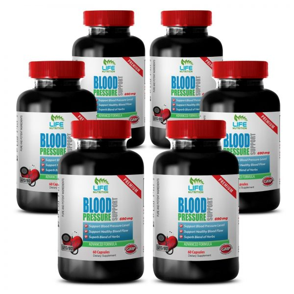 Blood Pressure Support.Cardiovascular Health. Blood pressure levels (6 Bottles)