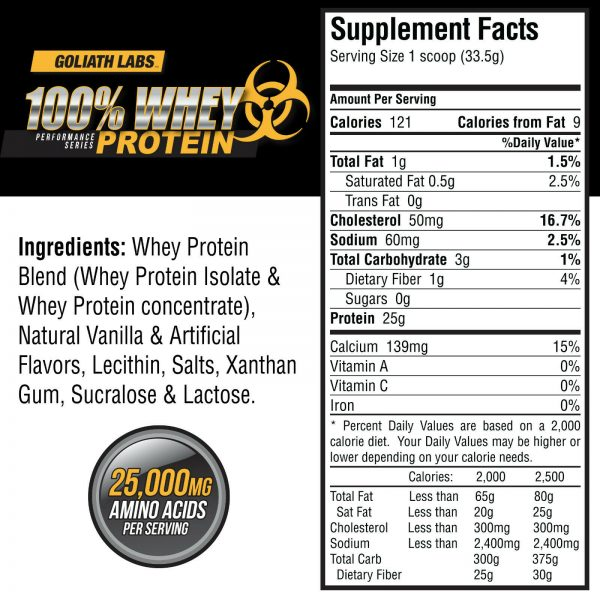 Goliath labs 100% Whey Protein Powder 10LB Isolate/blend protein 136 servings 1