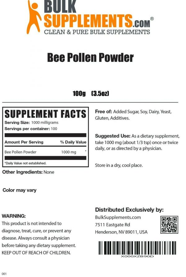 BulkSupplements.com Bee Pollen Powder - Bee Pollen for Bearded Dragons 1
