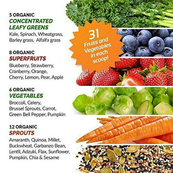 Grown American Superfood: 31 Organic Whole Fruits & Veggies in Every Scoop! (2) 3