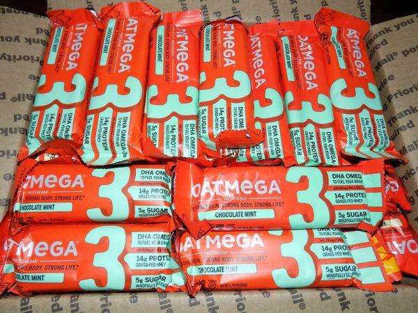84 OatMega Protein Bars 3 Flavors Vanilla Almond, Choc Mint & Choc Peanut 09/21+