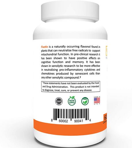 FISETIN 500mg | 500mg Fisetin Per Capsule 60 Capsules Therapeutic Dose Senolytic 2
