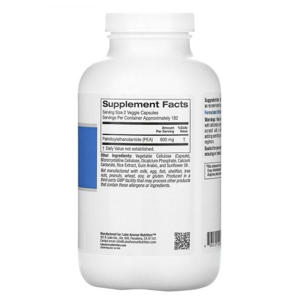 PEA (Palmitoylethanolamide), 300 mg, 365 Veggie Capsules 1