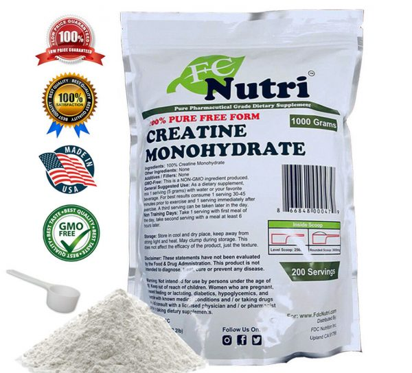 Creatine Monohydrate 100% Pure Powder 4000g (8.8 lb) Micronized by FDC NUTRITION 1