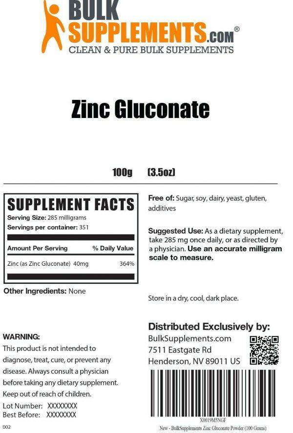 BulkSupplements.com Zinc Gluconate Powder - Raw Zinc - Zinc Supplements 1