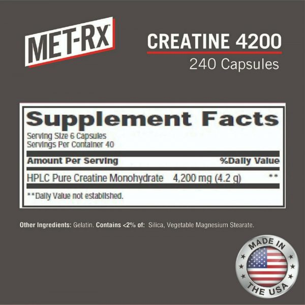 Creatine 4200 Supplement Supports Muscles Pre Post Workout Recovery Capsules 3