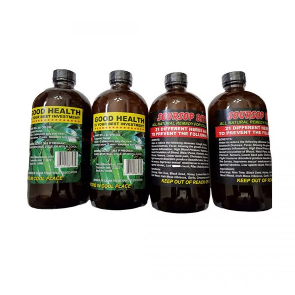 Soursop Bitters African Herbs and Roots 16 Oz (Pack of 4)