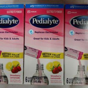 3Pk- Pedialyte Electrolyte Powder Sticks, Strawberry Lemonade 18 CtBB 9-21+ E2D