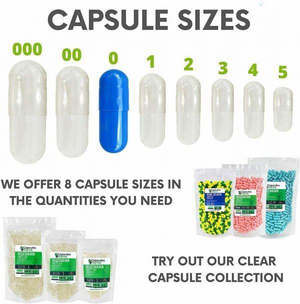 Capsules Express- Size 0 Blue Empty Gelatin Capsules Gelcaps Kosher DIY Caps Gel 5