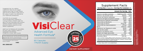 3 BOTTLES VisiClear Advanced Eye Health Formula 180 Capsules - 90 Day Supply 1