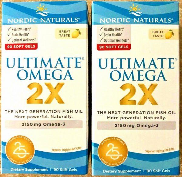 Set of 2 Bottles Nordic Naturals Ultimate Omega 2X Soft Gels 90x2 Ct Exp 09/2023