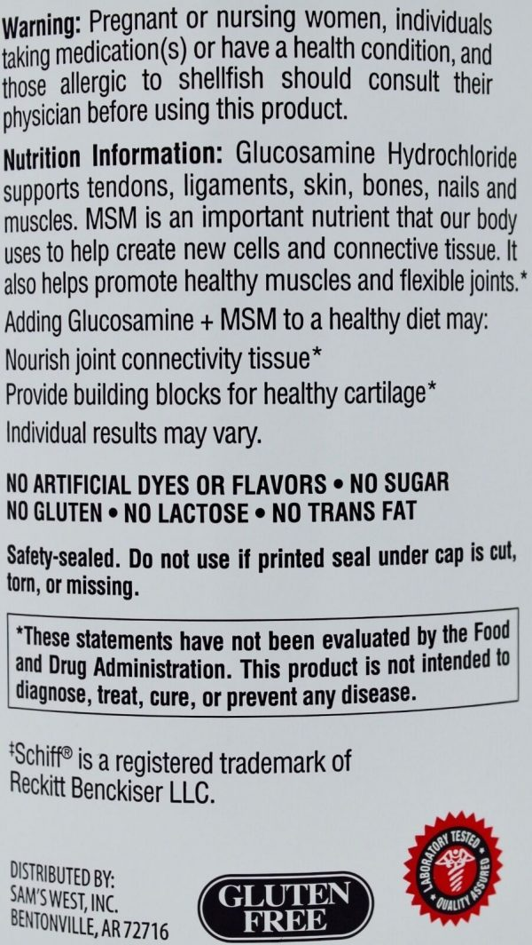 Member Mark Glucosamine HCI 1500mg MSM Hyaluronic Acid Joint Health 350 Tablets 2