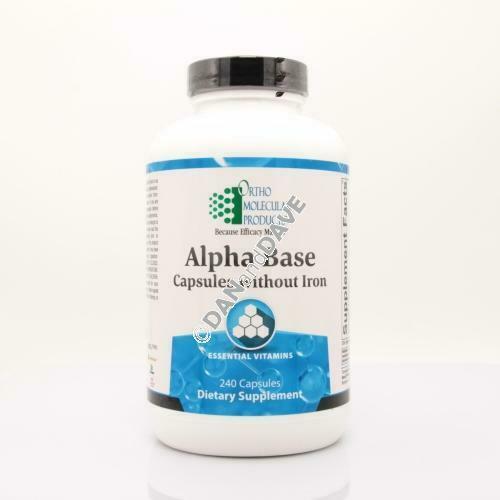 Ortho molecular products Alpha Base Capsules without Iron - 240 capsules