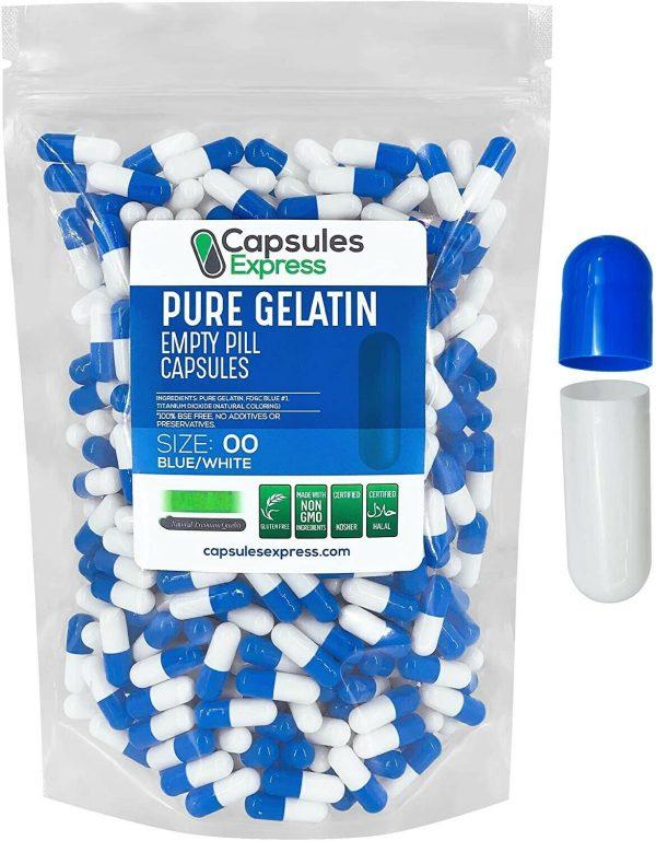 Capsules Express Size 00 Blue & White Empty Gelatin Capsules Gelcaps Caps Kosher