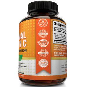 Liposomal Vitamin C 1600mg - High Absorption Vit C Pills 60 Capsules Supplements 1