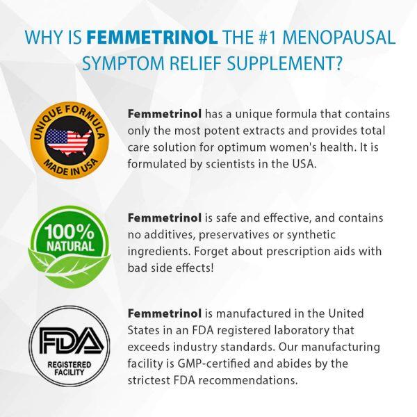 Femmetrinol Pills - 1 Bottle - Menopausal Symptom Relief  - 100% Natural  1