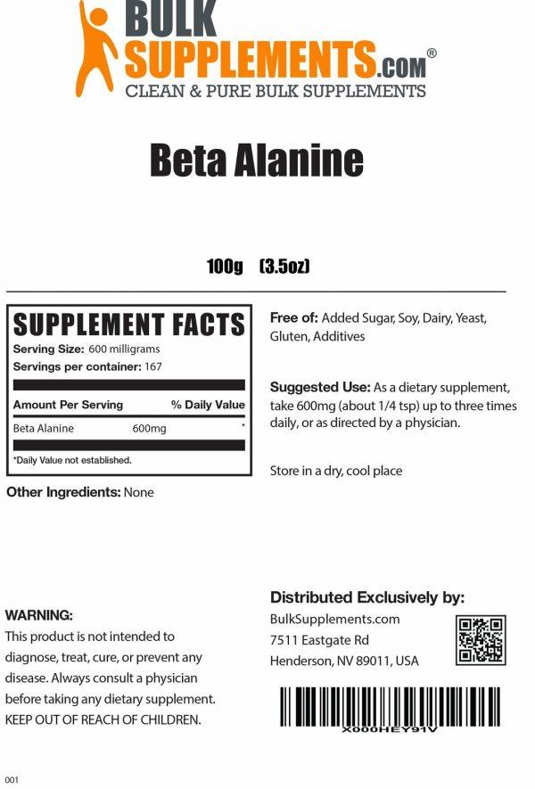 BulkSupplements.com Beta Alanine - Vegan Pre Workout - Beta Alanine Powder 1
