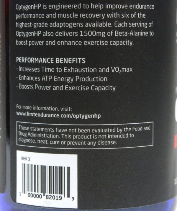 First Endurance Optygen HP High Performance Supplement 120-Capsules Increase VO2 2