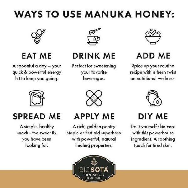 Biosota Organics-Manuka Honey MGO 1200+ 250g (Last Chance) 5