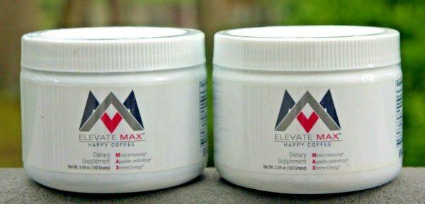 Elevacity TWO (2) Elevate Max Happy Coffee 3.59 oz Tubs - Sealed! Exp 9/2021