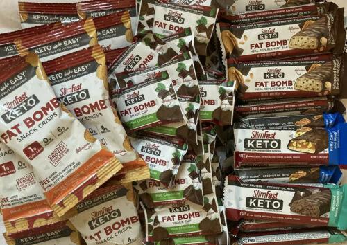 80 SlimFast Keto Meal Bars & Fat Bomb Snacks, Chocolate, Mint, Cheese Read Desc