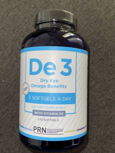 PRN - De3 Dry Eye Omega Supplement, 270 Count, expiration 2023