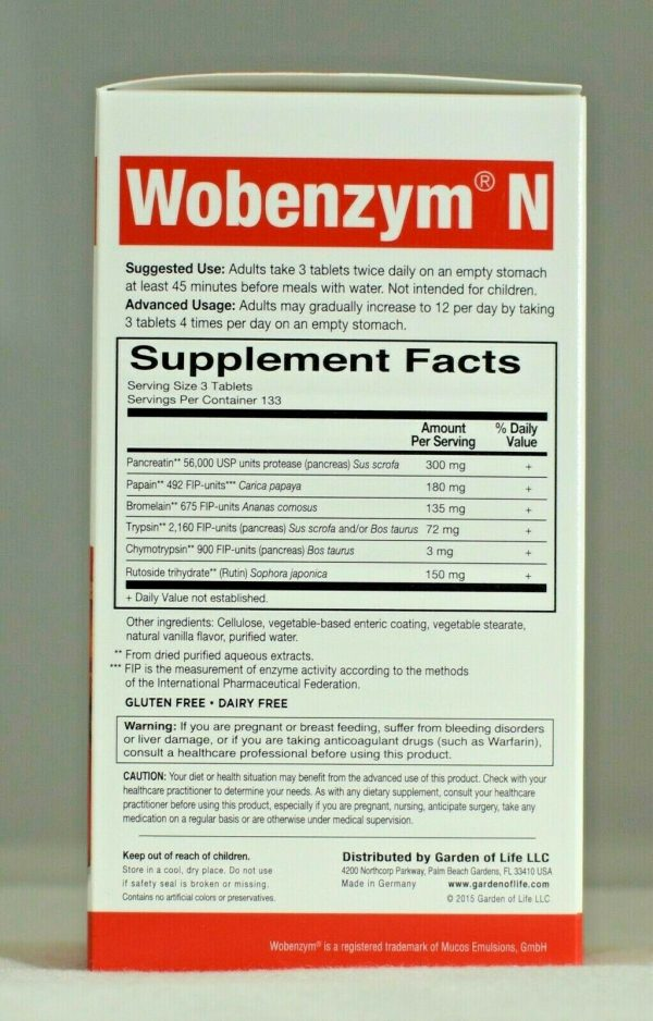 Wobenzym N 400 Garden of Life Inflammation Arthritis Joint Support  1