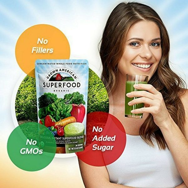 Grown American Superfood: 31 Organic Whole Fruits & Veggies in Every Scoop! (2) 1