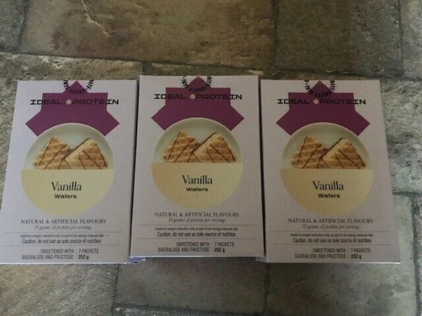 Ideal Protein 3 boxes of Vanilla Wafers 7 packets per box 15g protein