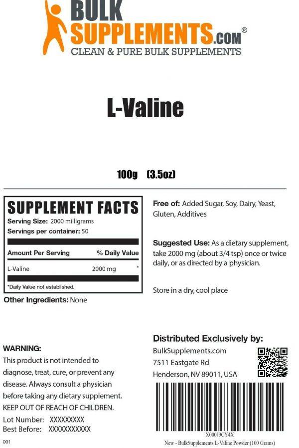 BulkSupplements.com L-Valine Powder - BCAAs Amino Acids - Essential Amino Energy 1