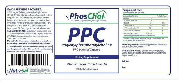 PhosChol 900mg- 100 Gelatin Capsules - Nutrasal- Dietary Supplement 1