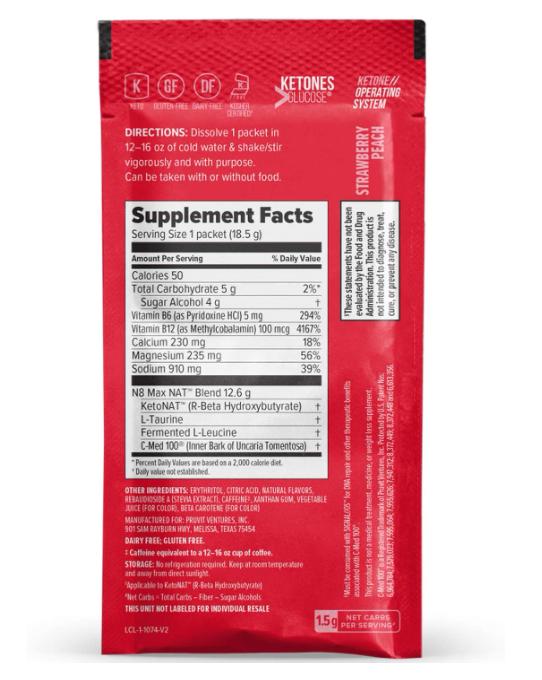 Pruvit NAT KETO//OS Strawberry Peach 20 Packets New Box Sealed Exp Date: 09/2022 1