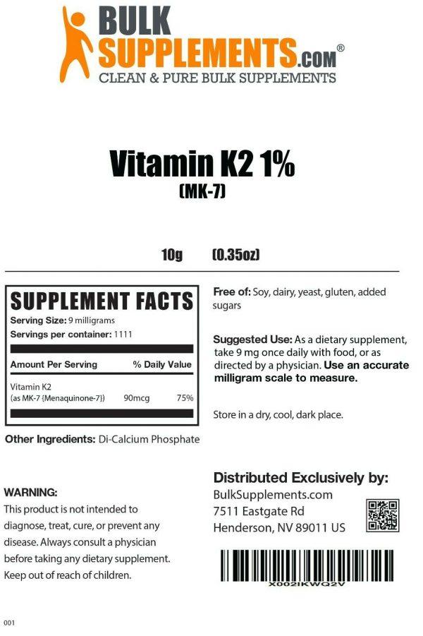 BulkSupplements.com Vitamin K2 MK7 - Heart Vitamins - Vitamin K2 Supplement 1
