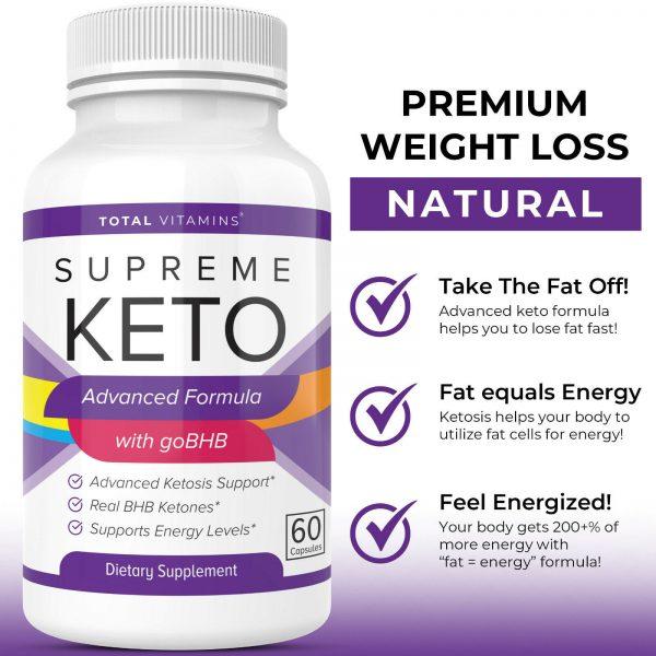 Supreme Keto Diet Pills Advanced Weight Loss BHB Ketones Fat Burner Ultra Boost