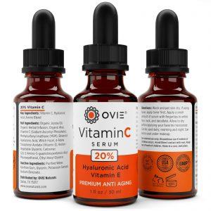 OVIE Pure Vitamin C Hyaluronic Acid Serum 20% for Face, BEST Anti Aging, 30 mL 1