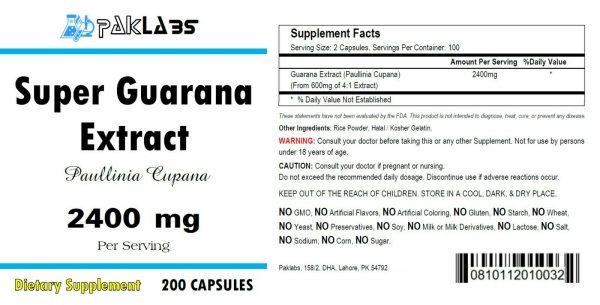 Guarana (SUPER) 2400mg High Potency 200 Capsule Energy Natural Caffeine 22% 1