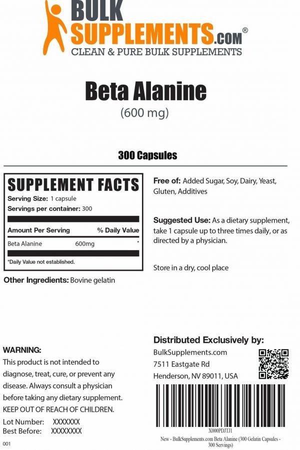 BulkSupplements.com Beta Alanine - Vegan Pre Workout - Beta Alanine Powder 6