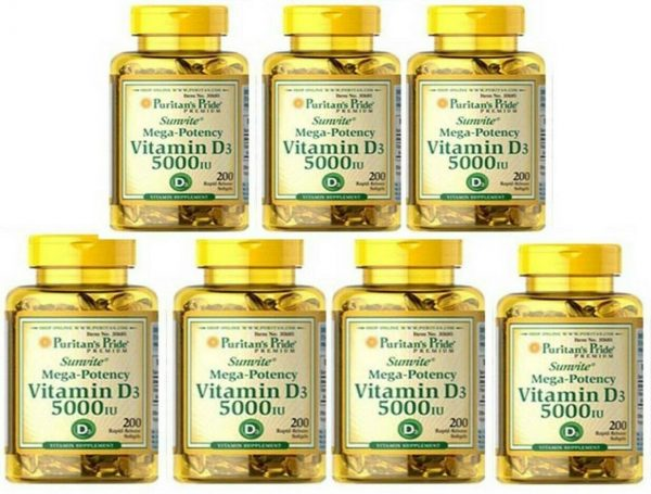 Vitamin D3 D 5000IU 12X200=2400 Softgel Mega-Potency Max Strength USA 2022 Whole 4