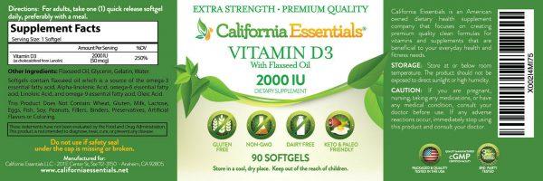 BOOST IMMUNITY & BONE HEALTH-VITAMIN D3 2,000iu SOFTGEL IN FLAXSEED OIL 1