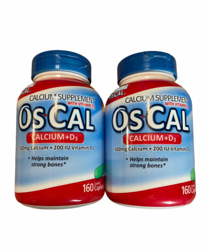 (2) Os-Cal Calcium 500 mg+D3 200 IU Supplement 160 Oscal Caplets SEALED EXP10/20
