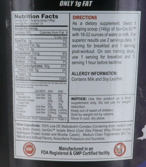 ANSI Nutrition ANSI ISO-GRO 62, ICE CREAM VANILLA, 10 pounds 1