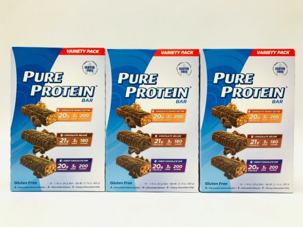 Pure Protein Bars, 3 x Classic Variety Pack, 18 Bars/Box | Low Sugar Gluten Free