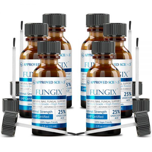 Fungix -Antifungal Nail Treatment W/ 25% Undecylenic Acid - 6 Bottles