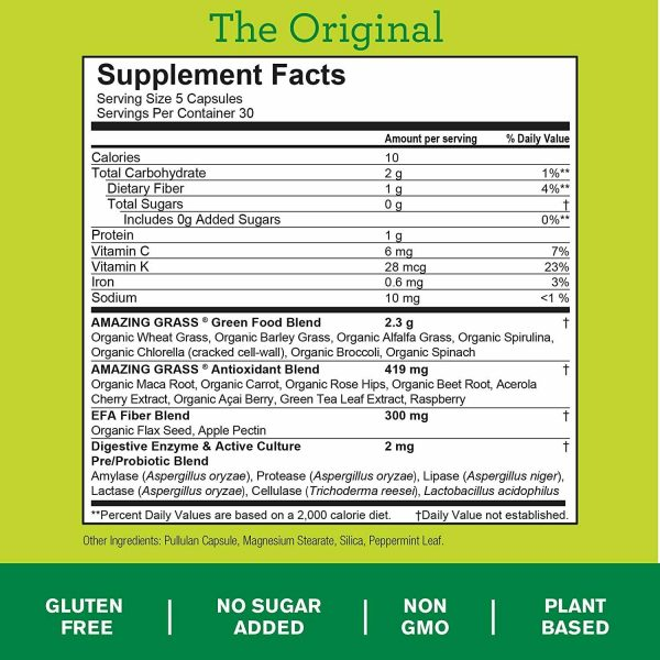 Amazing Grass Green Superfood Capsules: Super Greens with Spirulina,... 2