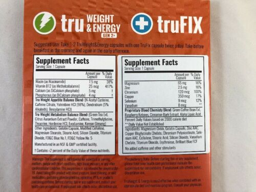 TruVision 30 days 1 MONTH truFIX tru WEIGHT Loss Energy GEN 2 DIET Control NEW 1
