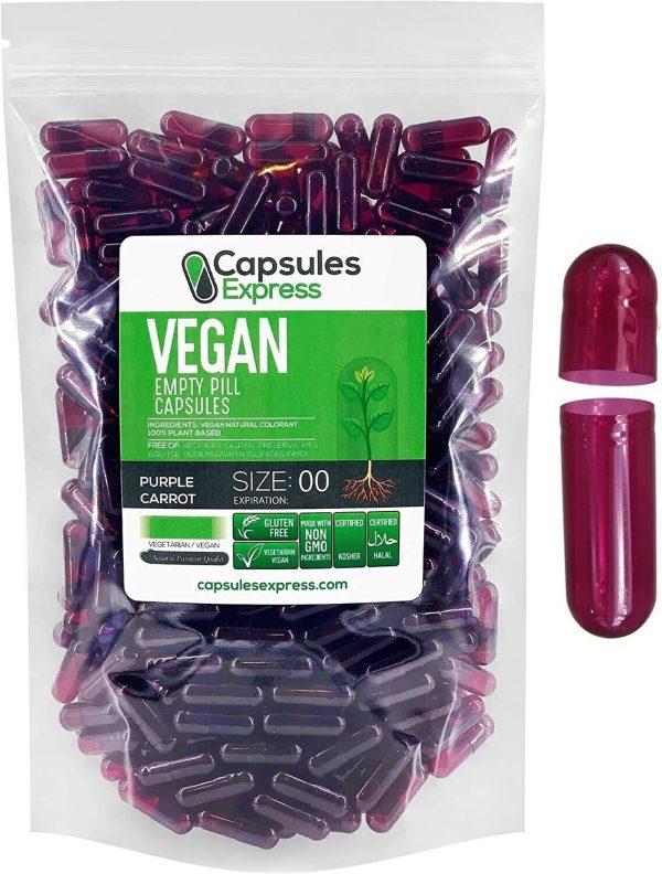 Capsules Express Size 00 Purple Carrot Empty Vegan Capsules Kosher Vegetable Cap